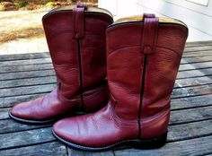 ACME Cowgirl Cordovan Shimmer Leather Roper Western Cowboy Boots Women's Size 7M #ACME #CowboyWestern
