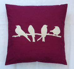 Little Birds A gorgeous wine coloured cushion cover with a contrasting white bird design Available in a choice of sizes: 14 x 14 inches 16 x 16 inches 18 x 18 inches 20 x 20 inches 22 x 22 inches 24 x 24 inches A really eye-catching design, perfect to add your own unique style to a room! The reverse has matching fabric and an easy access envelope style opening All machine stitched, no glue is used in the making Sale is for the cover only, pads are not included All items are handmade in o...