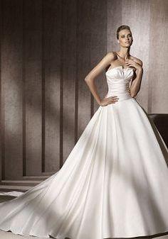 Strapless Satin Princess Sleeveless Zipper Back Floor Length Wedding Dresses | BlackFive