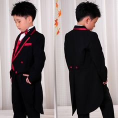8 Piece Black Red Double Ted Boys Dress Tail Suit Tuxedo Outfit Sku 132034