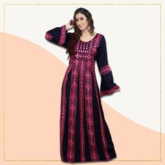 A lightweight Persian Kaftan Dress with eye-catching machine embroidery work. The pink embroidery and crystal bead work beautifully stands out against the navy blue fabric. Product no: 8490 Kaftan Abaya, Abaya Fashion, Modest Outfits, Blue Fabric, Crystal Beads, Persian, Machine Embroidery, Navy Blue, Pure Products
