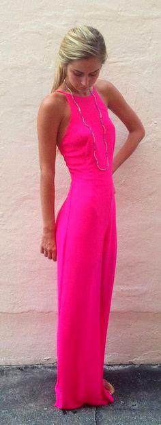Hot pink jumpsuit.