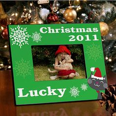 Holiday Pet Cat Dog | Personalized Picture Frame for 4x6 Photo