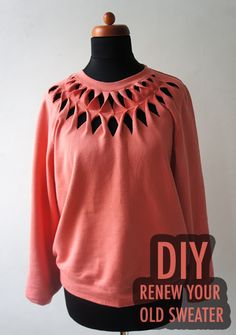 Here's how to create a new sweater from an old one. Grab a pair of scissors and cut in equal pieces around the neck. Twist the strips and sew them together with a similar color thread. Enjoy your n...