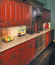 Rustic Red Kitchen Cabinets perfect red country kitchen cabinet design ideas for small space