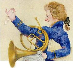 horn-y Mozart lol Music Illustration, French Horn, Composers, Figure Painting, Music Stuff, Music Quotes, Composition, Instruments, Brass