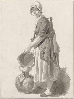 Johannes Christiaan Schotel   Staande melkvrouw, die melk uitgiet in een koperen kan, Johannes Christiaan Schotel, 1797 - 1838  