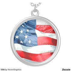 'USA' Sterling silver-plated ROUND PENDANT NECKLACE usa flag, usas, flags, usa flag, symbols, patriotism, world flags