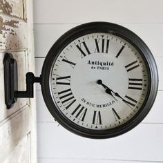 Metal LED Station Clock on Bracket is fun wall clock complete with bracket and light. Visit Antique Farmhouse for more clocks and vintage decor. Shabby Chic Farmhouse, Antique Farmhouse, Farmhouse Decor, Finding Treasure, Christmas Fireplace, Metal Lanterns, Dry Goods, Paris, Vintage Decor