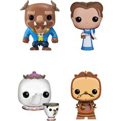 Funko - Beauty and The Beast Movie Pop! Disney Collectors Set: The Beast, Peasant Belle, Mrs. Potts with Chip, Cogsworth - Multi, G847944000778