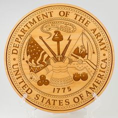 Laser engraved Army seal wall hanging. This is a beautiful way to show your support for our military. Makes a lovely gift for an active or retired
