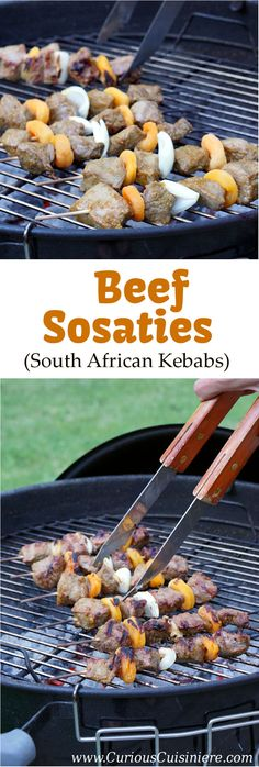 Sosaties are South African kebabs marinated in a sweet curry sauce. Our beef version is tender, ligh Barbecue Recipes, Grilling Recipes, Beef Recipes, Healthy Recipes, Skewer Recipes, Camping Recipes, Family Recipes, Yummy Recipes, Dinner Recipes