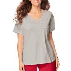 Just My Size Women's Plus-Size X-Temp Pocket Tee, Size: 1XL, Silver