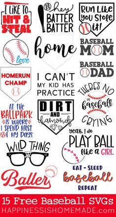 Calling all baseball fans! Use these 15 FREE Baseball SVG files to make your own baseball and softball shirts, hats, totes and more for game day and every day! Softball Bows, Baseball Mom Shirts, Softball Cheers, Softball Pitching, Fastpitch Softball, Softball Shirt Ideas, Baseball Match, Baseball Videos, Cricut Vinyl