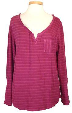 NEW Lucky Brand Womens Shirt COSTA MESA Pocket Top Split Neck Stripe Pink Sz XL #LuckyBrand #KnitTop #Casual