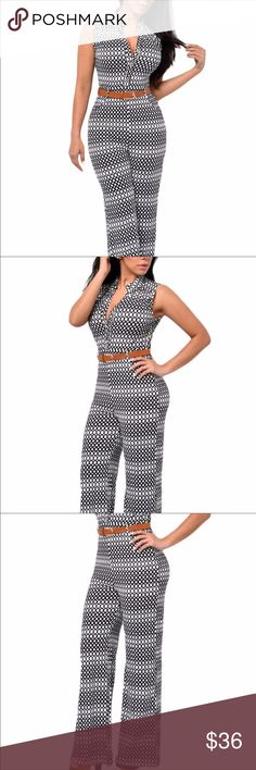 Circle pattern wideleg jumpsuit with belt Please see size chart Pants Jumpsuits & Rompers