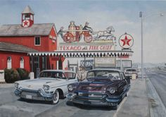 Paul Vereecke - Caddillac's in Las Vegas Texaco, Cadillac, Las Vegas, Olympia, New York City, Times Square, Painters, Art, Belgium