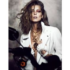CHANEL Cut out Medallion on a Long Gold Link Chain ******Featured in @Fashion Trends Canada Fashion Magazine October 2013 issue worn by model Daria Werbowy******
