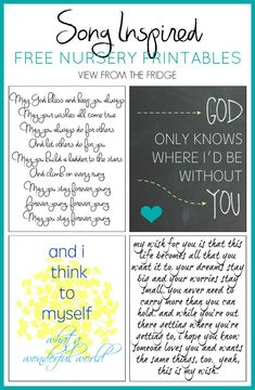 Song Inspired Free Nursery Printables via View From The Fridge