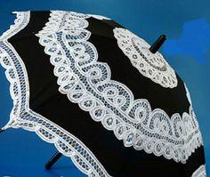 Black & White Battenburg Lace Parasol, Victorian Sun Umbrella, New! Chic Elegant #Unbranded #Parasol
