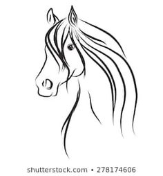 Immagine vettoriale a tema Horse Head Ornament (royalty free) 732872947 - Shutterstock Horse Drawings, Art Drawings, Horse Head Drawing, Cow Paintings On Canvas, Horse Stencil, Horse Riding Quotes, Horse Sketch, Horse Silhouette, Horse Crafts