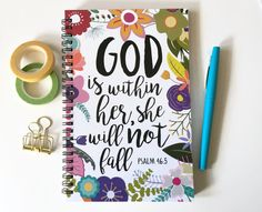 God is within her she will not fall Psalm 46:5  ------------------------------------------------------------ ABOUT OUR JOURNALS:  -All our journals measure 5.5 x 8.5 inches  -Front covers are printed on 120lb heavy cardstock -Heavy black chipboard backings to provide a sturdy writing surface  -All journals are made with 100 pages (50 sheets) of 24 lb white acid free paper  -Bound together with black twin loop wire. Your journal will lay flat and have full page rotation.  -Your journal will…