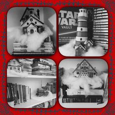 Christmas village decorations on the book shelves.