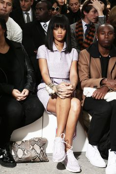 "Rihanna at ""Chanel"" Fashion Show in Paris via http://rihannalb.tumblr.com/post/78563206519/rihanna-at-chanel-fashion-show-in-paris"