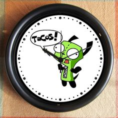 My Child would LOVE this...Invader Zim GIR TACOS 10 inch Resin Wall Clock Contact Me for Custom Clocks Under 25.00 Geekery