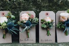 "Blush pink and navy blue rustic cluster buttonholes - spray roses and blue eryngium thistle - Image by <a href=""http://www.hermionemccosh.com"" target=""_blank"">Hermione McCosh</a>"