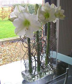 Krulwilg met amaryllis als mooi bloemstukje voor in de huiskamer