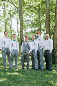 Groomsman Ideas. Bow ties and suspenders in an array of colors.