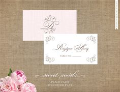 Wedding Place Cards/Escort Cards - Flat or Folded Cards, Blank OR Name/Table Number Printed with FREE SHIPPING - Sweet Swirls Collection on Etsy, $15.00