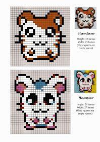 Hamtaro - hamster - pet - hama beads - pattern by Lisa Faretra Tiny Cross Stitch, Cross Stitch Charts, Cross Stitch Designs, Cross Stitch Embroidery, Cross Stitch Patterns, Perler Beads, Perler Bead Art, Fuse Beads, Pony Bead Patterns