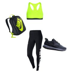 """""""track practice wit a pop of color"""" by datblackgirl ❤ liked on Polyvore featuring NIKE"""
