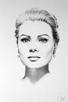 Grace Kelly Original Pencil Drawing Minimalism Fine Art Portrait Glamour Beauty Classic Hollywood1950s