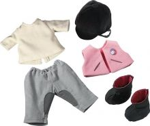 This adorable horseback riding outfit transforms Haba's 15 inch dolls into seasoned riders. The set from consists of shirt, riding pants, vest, boots and helmet. Horseback Riding Outfits, Riding Pants, Riding Clothes, Big Show, Equestrian Outfits, Baby Kind, Beautiful Babies, Riding Helmets, Dress Outfits