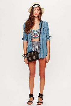 Just right for the steamy summer days ahead, we're seriously loving the beachy, casual-cool vibe of a bustier top under a chambray shirt. High-waisted shorts, a floppy hat, and flat sandals complete what's now our fave weekend look.    Mara Hoffman Embroidered Bustier Top, $207, available at Free People.