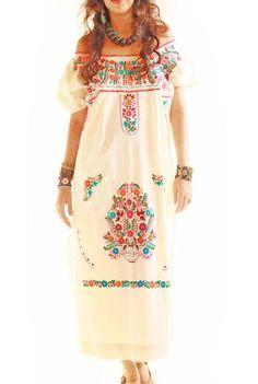 Las Florecitas embroidered ethnic maxi mexican wedding dress by Aida Coronado