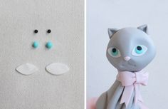 Cómo modelar un gatito paso a paso Polymer Clay Cat, Ice Cream Cupcakes, Clay Cats, Fondant Animals, Cupcake Cakes, Cat Cakes, Space Cat, Clay Figures, Cake Decorating Tips