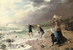 George Hillyard Swinstead, Playing in the waves Seaside Art, Beach Art, Wind And Rain, English Artists, Ocean Waves, Beautiful Paintings, Art For Kids, Art Children, Oil On Canvas