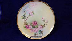 VTG 1894-1931 Haviland France Roses Hand painted Gold trimmed Porcelain Plate
