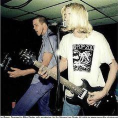 Kurt Cobain and Krist Novoselic. Nirvana, Stache's, Columbus, OH. 1990