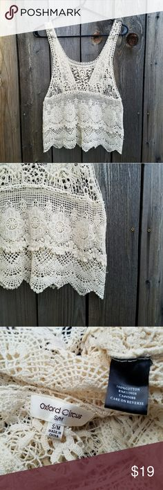 Oxford Circus Cream Crochet Top Excellent condition  Feel free to ask me any additional questions! Reasonable offers are considered. No trades, or modeling. Happy Poshing! Oxford Circus  Tops