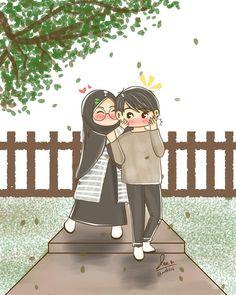 Drawing - - cute couple cartoon, love is cartoon, girl cartoon, glitter background Love Is Cartoon, Cute Couple Cartoon, Cute Couple Art, Anime Love Couple, Cartoon Art, Girl Cartoon, Cute Muslim Couples, Cute Anime Couples, Hijab Anime