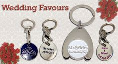 Cherish your special day with your own bespoke trolley token key rings.   These are the perfect wedding favour for your guests to celebrate your new journey together.