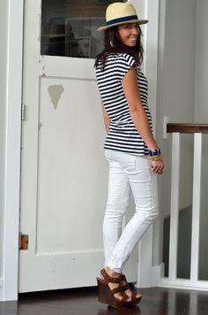 Stripes & White Pants