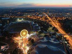 Olympia Stadium at  dusk, Munich, Germany