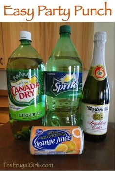 EASY PARTY PUNCH {this punch recipe comes together in a snap and is delicious served at parties, showers or a wedding!} ~ What You'll Need:~ 2 Liter Sprite 2 Liter Ginger Ale 1 bottle Sparkling Cider 1 can Frozen Orange Juice~~ Refreshing Drinks, Summer Drinks, Holiday Drinks, Summer Sangria, Fall Drinks, Party Drinks, Cocktail Drinks, Brunch Drinks, Bourbon Drinks