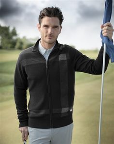 Triple Threat - windproof, water repellent and stylish! The SUNICE Dundee Men's Marino Wool Windstopper Sweater at Golf4Him.com